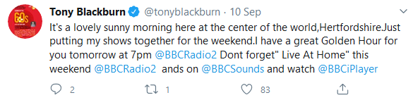 Tony Blackburn Twitter pic